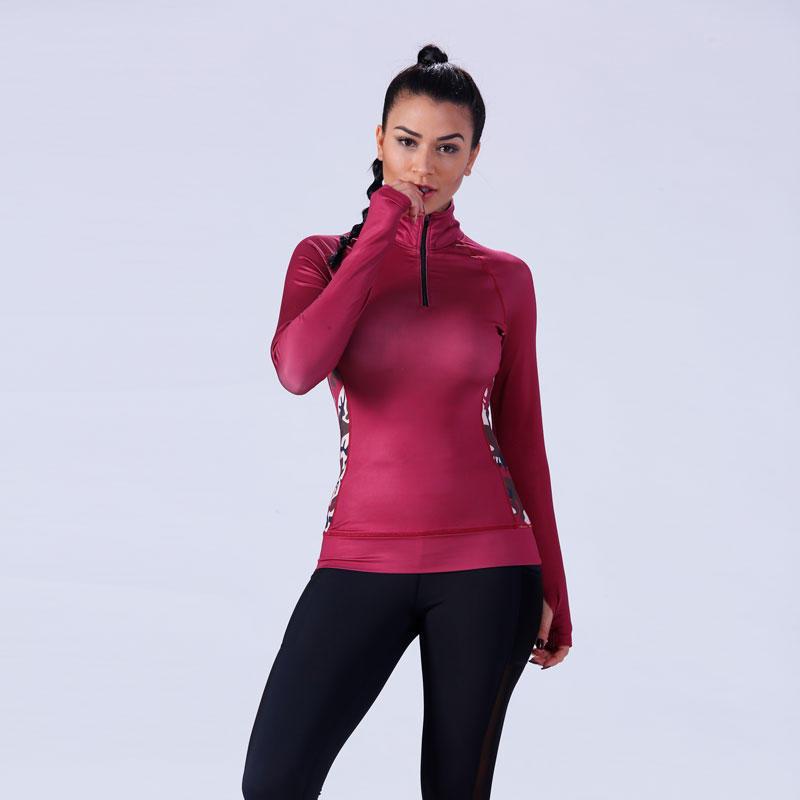 Women contract camo color 1/4zipper top shirt YFLTP02