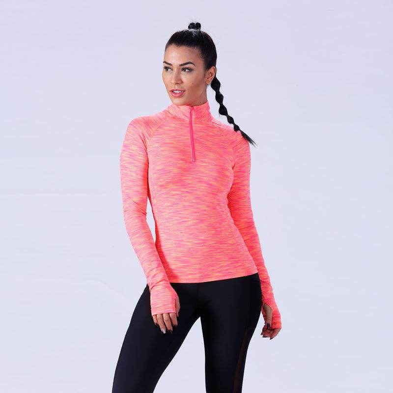 Women parti-colour 1/4zipper top shirt YFLTP01