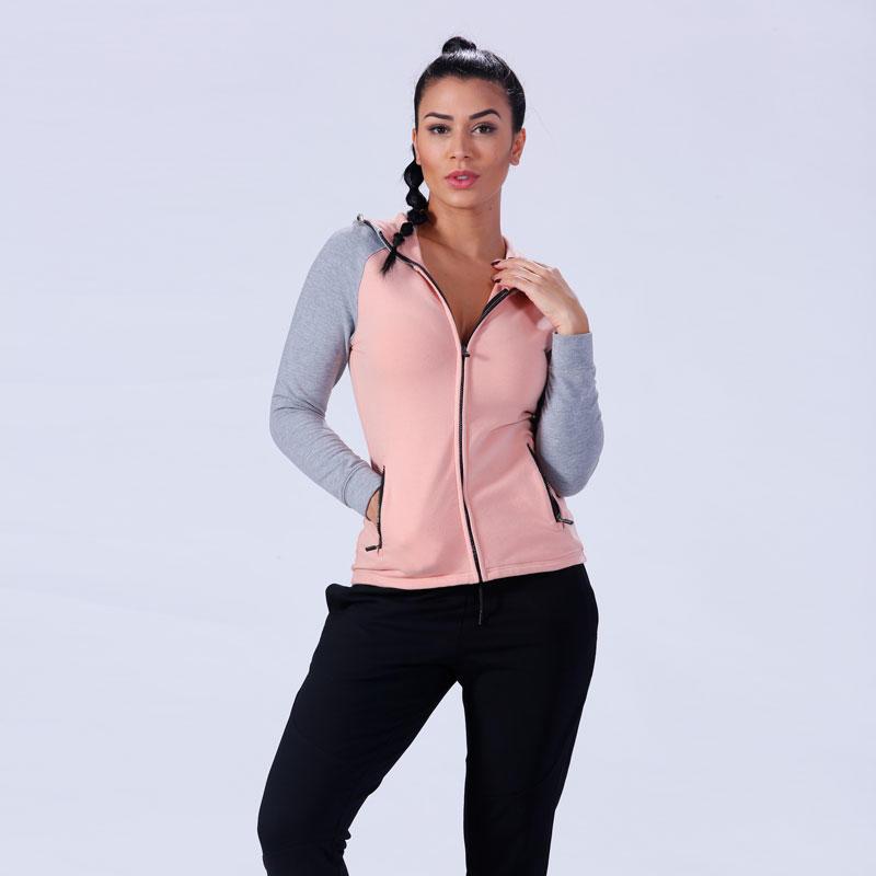 custom zip up gym fitness women zip up hoodie YFLHD01