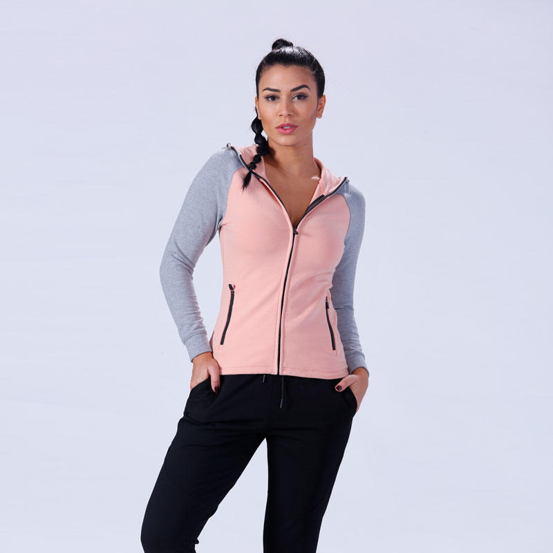 custom zip up gym fitness women zip up hoodie YFLHD01