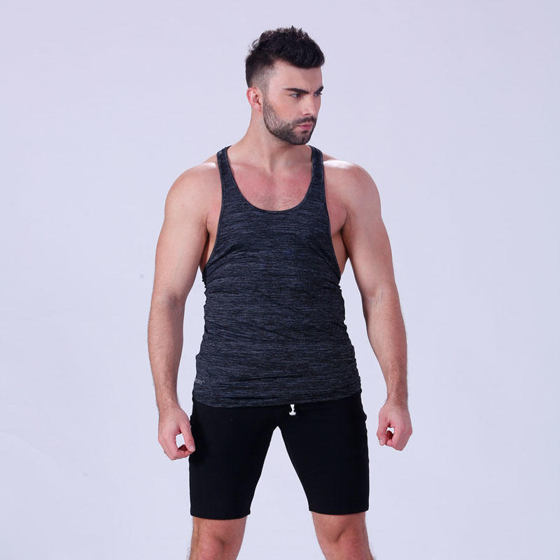 OEM custom men's gym loose fit muscle cut stringer tank tops YFLTKT02