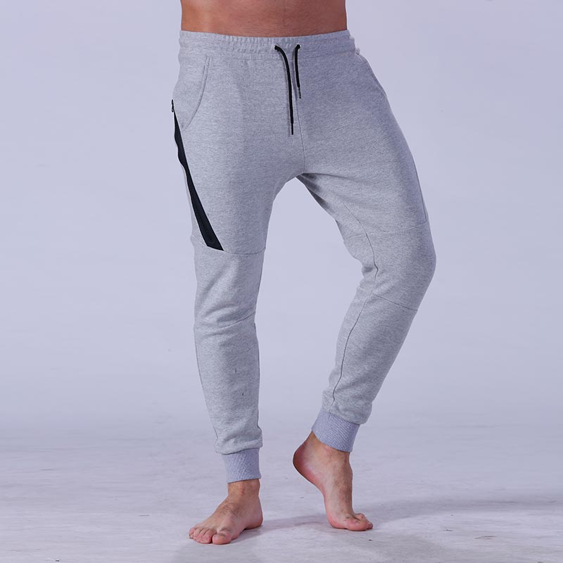 Yufengling quality men's grey jogger pants  tight elastic for sporting-5
