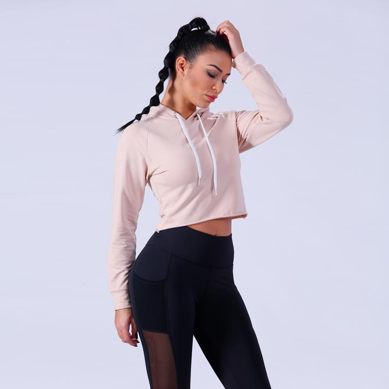 Women gym crop top hoodie YFLHD02