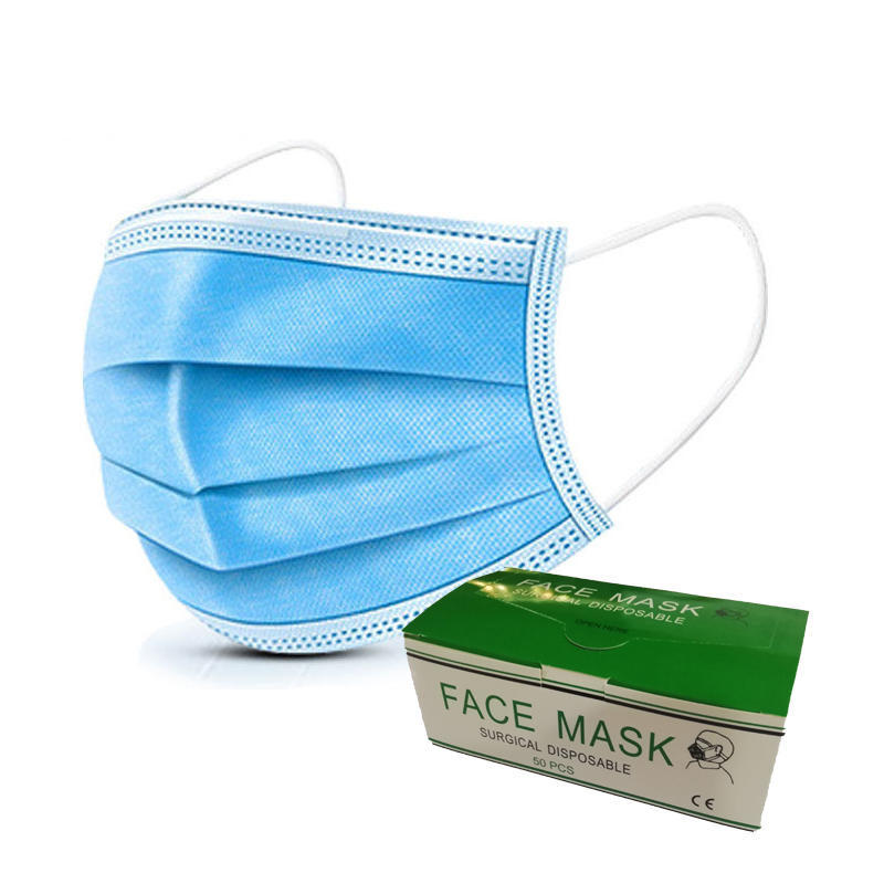 on stock fast shipping disposable three layers 3ply non woven face mask