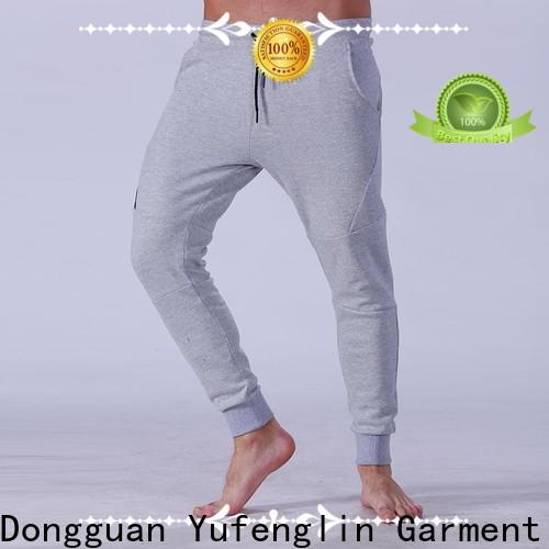 Yufengling durable mens jogger pants simple designs in gym