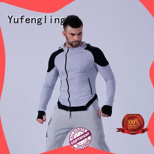 Yufengling solid man in hoodie zip for training house