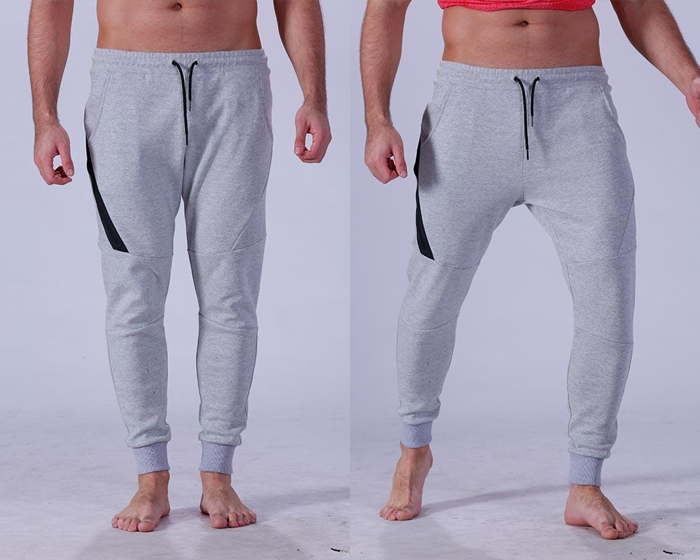 Yufengling quality men's grey jogger pants  tight elastic for sporting-1